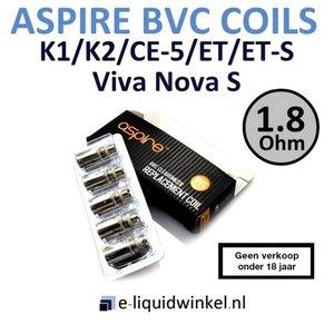 Aspire CE5/Vivi Nova S/ET-S/ET/K1/K2 BVC coils 1.8 Ohm